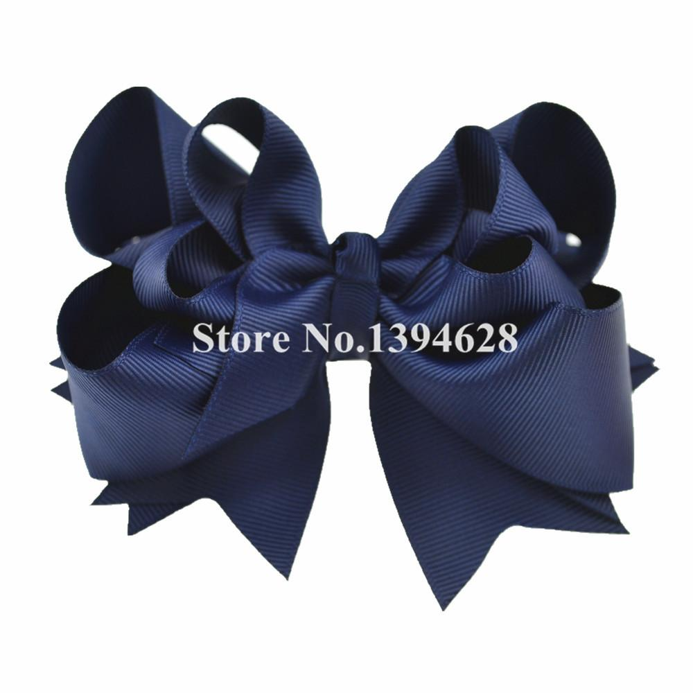 - $1/1PCS 5 inches 3 Layers Solid Navy Bows With 6cm Clips Boutique Ribbon Bows For Girls Hair Accessories -   jetcube