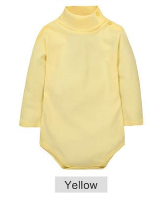 - 12 Color Baby Clothes 0-24M Newborn baby boy girl clothes Jumpsuit Long Sleeve Infant Product solid turtleneck Baby Rompers - Yellow / 12M  jetcube