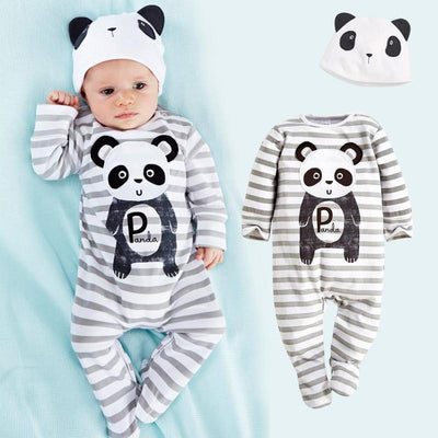 - (animal baby boy clothes) baby clothes romper cow/ panda/lion/ tiger long-sleeved romper with cute hat - c / 12M  jetcube