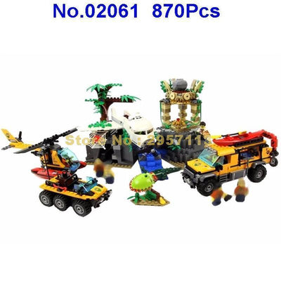 - 02061 870pcs City Series Exploration Of Jungle Lepin Building Block Compatible 60161 Brick Toy -   jetcube