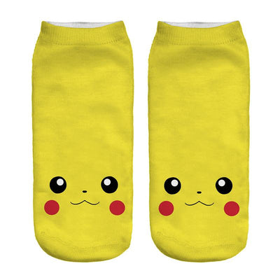 - % New Arrival Kawaii Harajuku Pokemon Pikachu Socks 3D Printed Cartoon Women's Low Cut Ankle Socks Novelty Casual Socks Meias D -   jetcube
