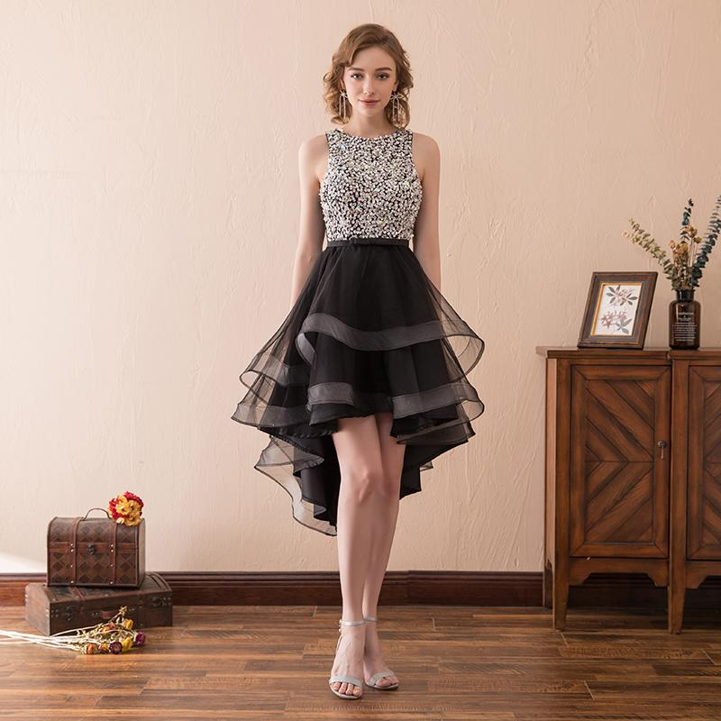 2018 Elegant Woman Short Cocktail Dress Silver Sequin High Low Black Tulle  knee Length Summer Party d4035dc653fa