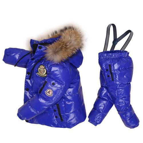 - -30Degrees Russia Winter Ski Jumpsuit Children Clothing Boys Girls Sport Suit Kids Snow Wear Jackets coats Bib pants Waterproof - Blue / 24M  jetcube