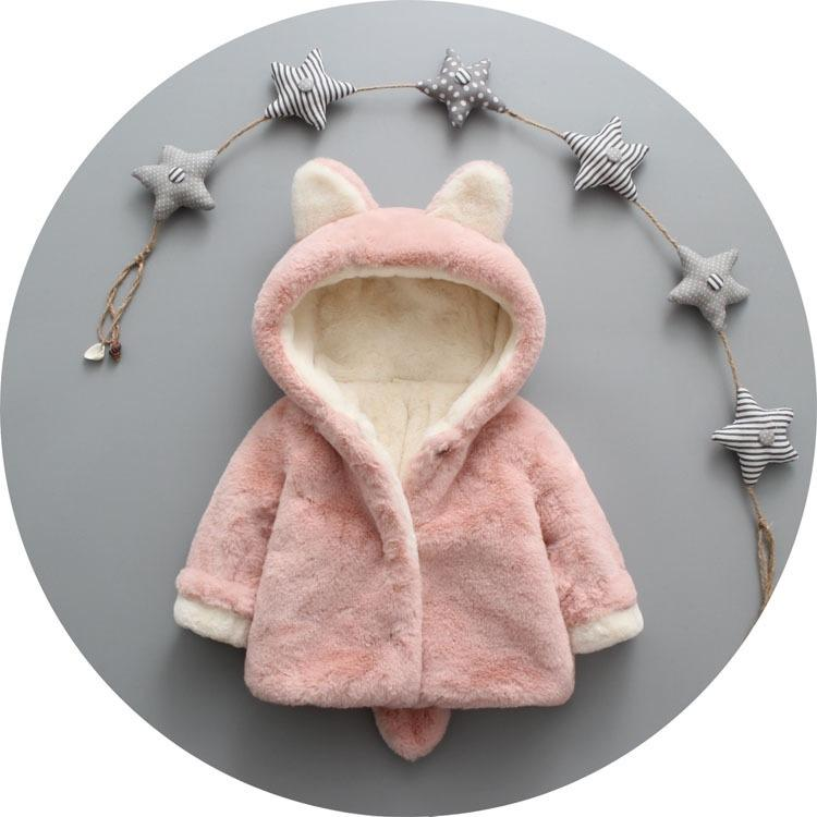 2017 Autumn Winter Baby Girls Cute Rabbit Ear Faux Fur Fleece Hooded Coat Jacket Kids Outerwear Boys Warm Thick Clothes 3 Colors