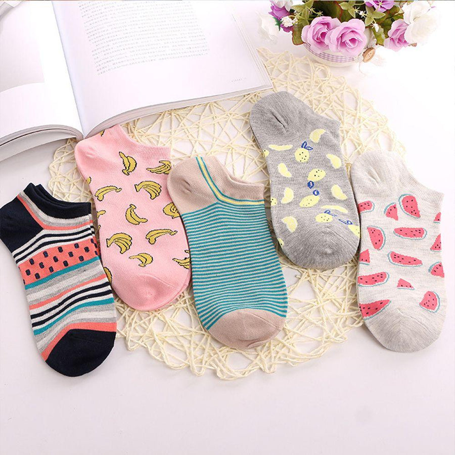 - 1 Pair Cute Casual Cotton Fruit Striped Short Ankle Sock Soft Boat Socks Accessories For Women Girl -   jetcube