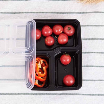 - 10 Pcs 3 Compartment Microwaveable Disposable Lunch Boxes 1000ML Food Container TableWare Dinnerware Safe #15 -   jetcube