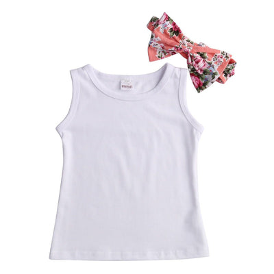 - 2016 Floral Baby Girls Sun Tops T-shirt Pants Trousers Bow Hairband Outfits 3Pcs Set -   jetcube