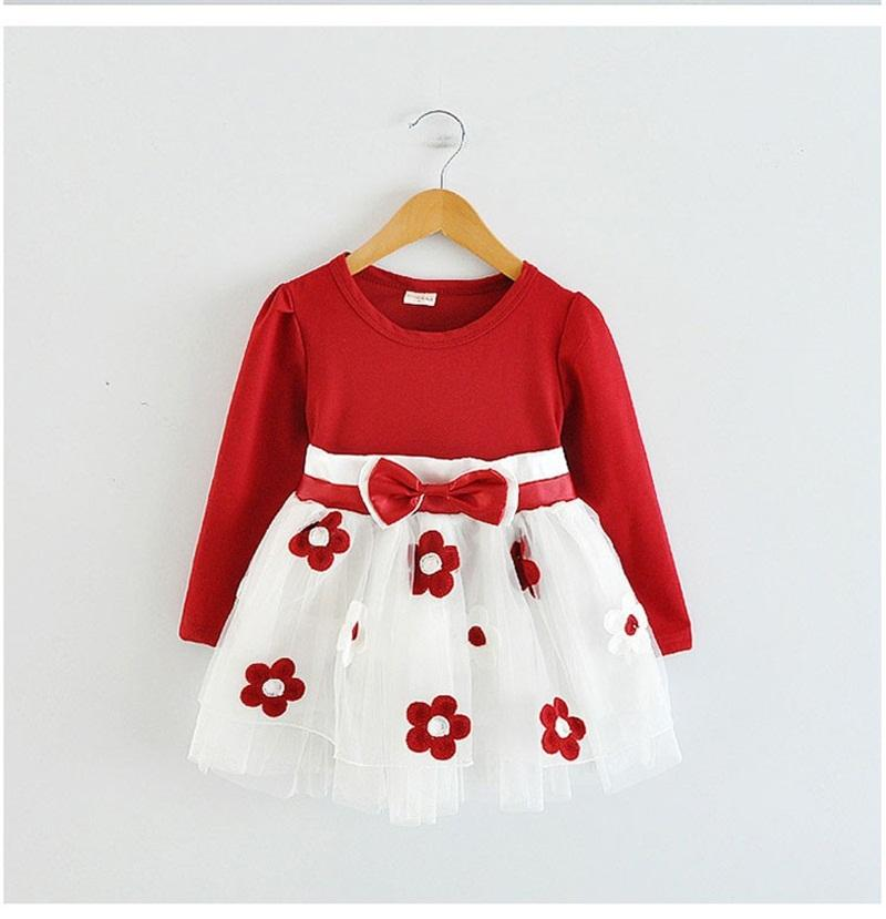 - 0-2T Newborn Girls Princess Baby Flower Dress Infant Baby Girl Clothes Red Pink Floral Tutu Ball Gown Party Dresses For Birthday - Red / 12M  jetcube