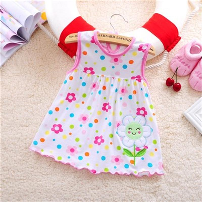 - 1 piece Retail 0-1 year newborn infant baby dress summer causal sleeveless clothes kids baby girls dresses clothings -   jetcube