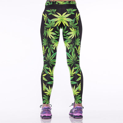 - 031 High Waist Workout Silm Fitness Women Leggings Elastic Pants Trousers For Sexy Girl Fashion Maple Leaf Weed Prints -   jetcube