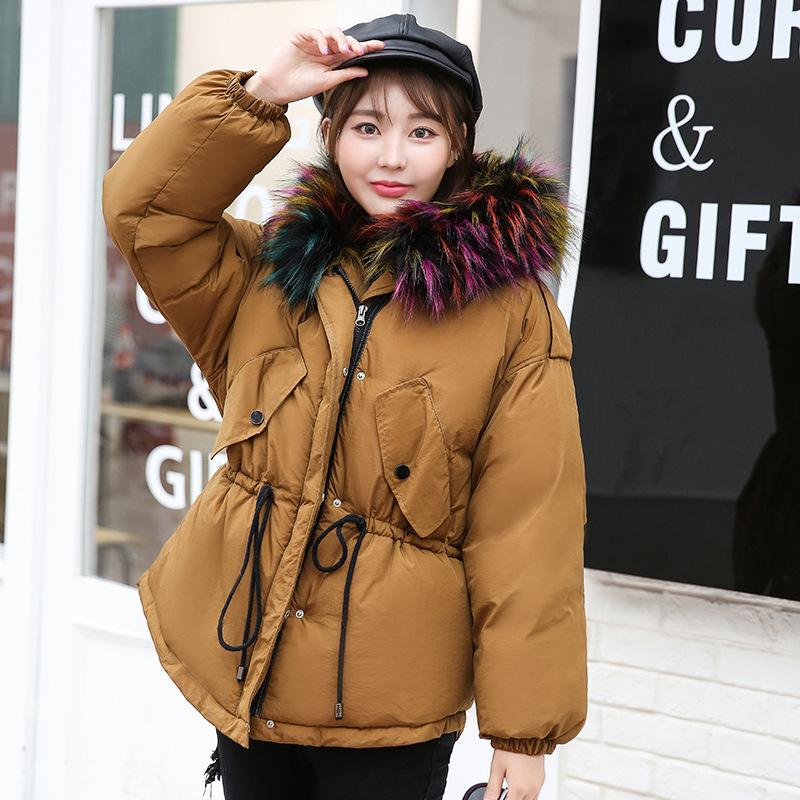 New 2017 Fashion Winter Short Jacket Big Fur Collar Hooded Camouflage Print Thicken Warm Coat Cotton Wadded Female Outwears