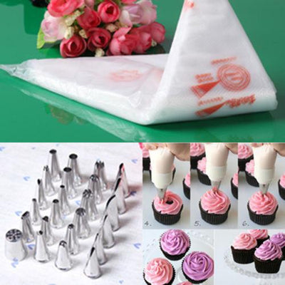 - 100 PiecesThickened Disposable Cream Cake Icing Piping Decorating Bags and Pastry Bags Baking Bare Tools -   jetcube