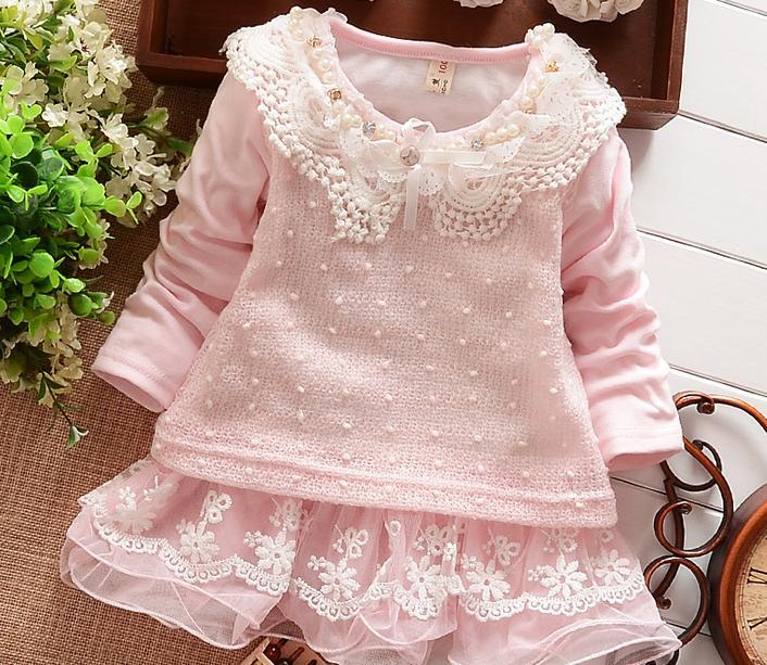 (1piece /lot) 100% cotton 2015 new lucky girl Sweater dress