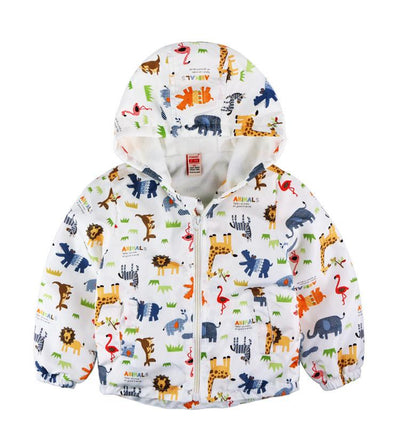 - 2-8yrs Kids Jackets For Girls and Boys Clothes Floral/Car/Dinosaur Print Children Outerwear & Coats Baby Hooded Windbreaker Coat - Animals / 3T  jetcube