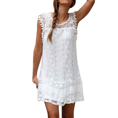 - 1PC 2018 Women Lady Summer Casual Lace Sleeveless O-Neck Beach Short Dress Daily Tassel Party Sexy Mini Dresses Droship 10Jun 12 - White / L  jetcube
