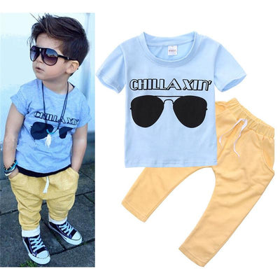0-5Y Toddler Baby Kids Boys Girls Clothes Set T-shirt Top + Long Pants Outfits Clothes Set Summer Newest 2017  UpCube- upcube