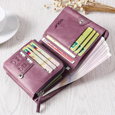 - 100% Genuine Cow Leather short design large capacity women's wallet Female Wallets with Zipper Coin Bag Q9012 -   jetcube