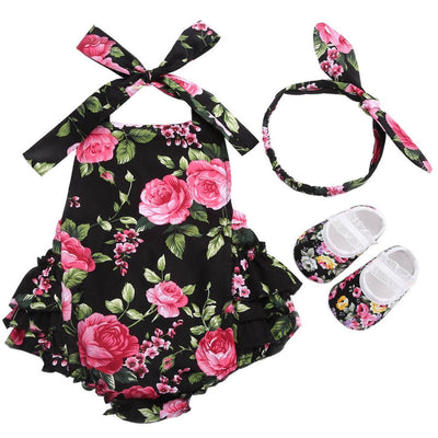 - 0-1 Year First Birthday Baby Show Floral Baby Clothes Girls Cute Headband Bebe Shoes 3 PCS set;Props Cotton Baby Rompers Overall - 7E2044 / 12M  jetcube