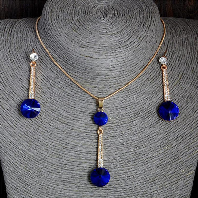 2017 Gold Color Pendants & Necklace Stud Earrings Blue Natural Stone Cubic Zirconia Crystal Romantic Bridal Jewelry Sets  UpCube- upcube