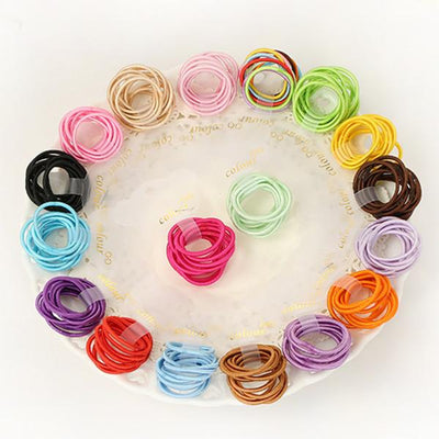 - 100 Pcs/ lot (10 packs) Mini 2.5mm thickness hair ropes girls Slim hair ties kids hair ropes accessories -   jetcube