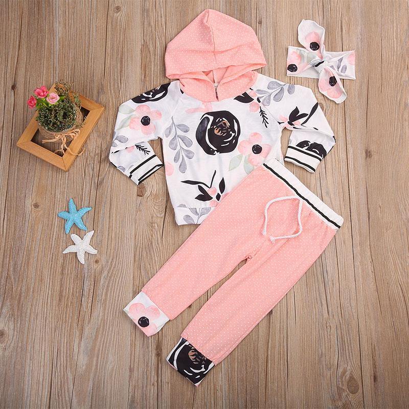 2017 Autumn Toddler Kid Girls Clothes Floral Long Sleeve Hooded T-shirt Tops+Pant Trouser Headband 3PCS Bebek Giyim Baby Clothes