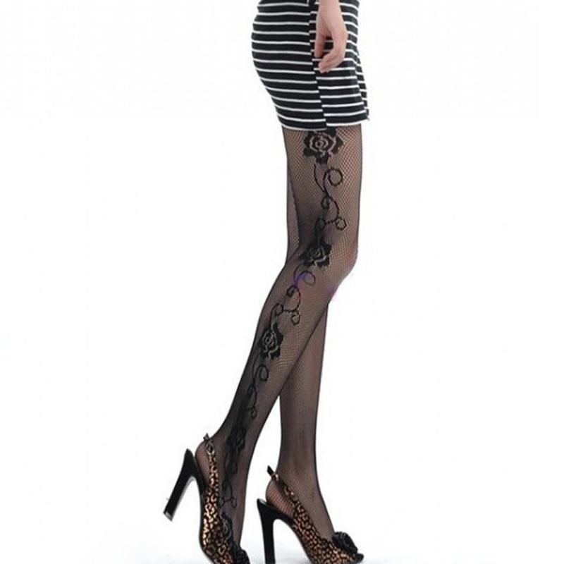 1 pc Trendy Female Sexy Rose Side Pattern Hollow Fishnet Pantyhose Tights Long Sexy Black Tights For Women Girl