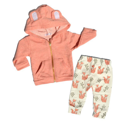 - 0-2 Years Baby Boy Girl clothes Autumn Newborn Baby Coat Long Sleeve Hooded Cotton Fox Pants Infant Clothing Set 2 Piece Set J02 -   jetcube