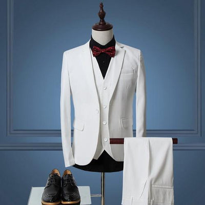 - (Jacket+Vest+Pants)Men Slim Fit Suits Plus Size M- 6XL Mens White Wedding Suits With Pants Business Mens Formal Wear XK45 -   jetcube
