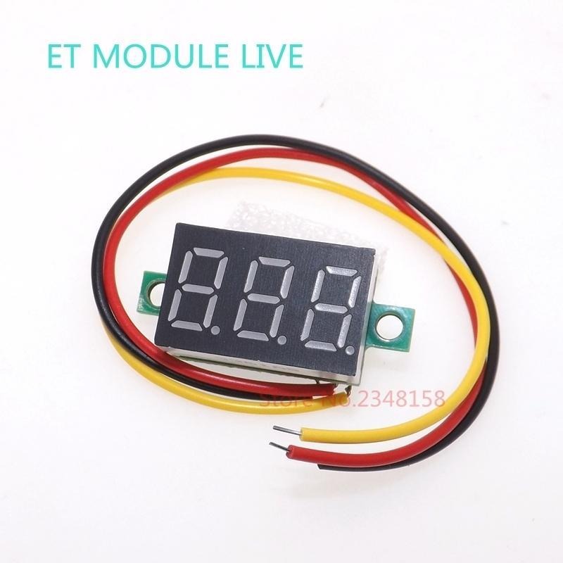 "- 0.36"" Digital Voltmeter DC 0V-100V Three Lines 3 digit Voltage Panel Meter Display led Color Red -   jetcube"