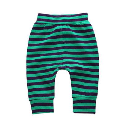 - 0-2 T PP Baby pants Boy trousers Striped printed children trousers harem pants Can open the children's pants Autumn/Spring - Boy Shorts 4 / 12M  jetcube