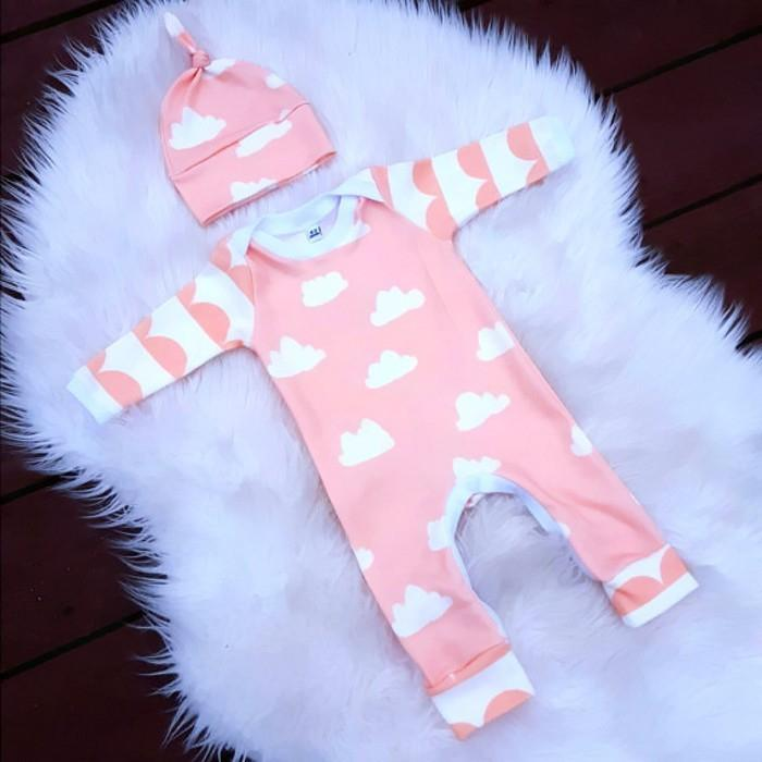 2017 Autumn style Baby Boy Girl Rompers Long Sleeve Cartoon Clouds Infant Jumpsuit+Hat 2 Pcs Casual Outfit Newborn Baby Clothes