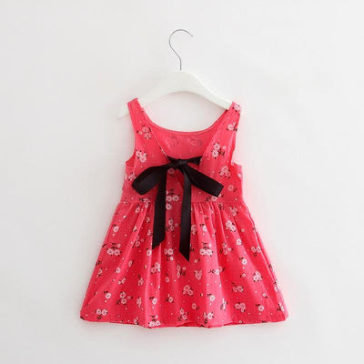 - 2-7y Girls Clothing Summer Girl Dress Children Kids Berry Dress Back V Dress Girls Cotton Kids Vest dress Children Clothes 2017 - Rose / 2T  jetcube