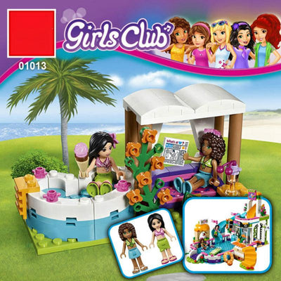 - 01013 Girls Club The Heartlake Summer Pool Set Friends 41313 Model Educational Building Bricks -   jetcube