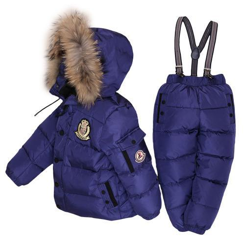 - -30Degrees Russia Winter Ski Jumpsuit Children Clothing Boys Girls Sport Suit Kids Snow Wear Jackets coats Bib pants Waterproof - Navy blue / 24M  jetcube