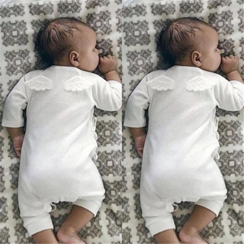 Solid Color Baby Boy Girls Rompers Long Sleeve Cotton Angel Baby