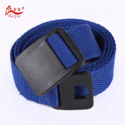 - 2.5cm webbing Waist Belt Candy Color Mens Womens Unisex Plain Webbing Canvas plastic Buckle Belt Personal Tailor - Royal blue / 100cm  jetcube