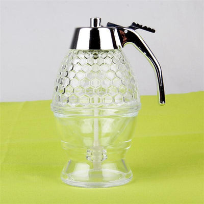 - 200ML Acrylic Clear Juice Honey Dispenser Container Kettle Kitchenware Storage Syrup Spice Bee Bottle 15 x 8 cm Honey Jars -   jetcube