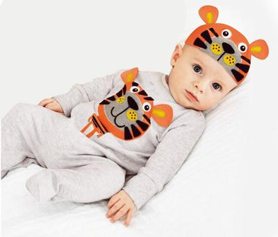 - (animal baby boy clothes) baby clothes romper cow/ panda/lion/ tiger long-sleeved romper with cute hat - e / 12M  jetcube