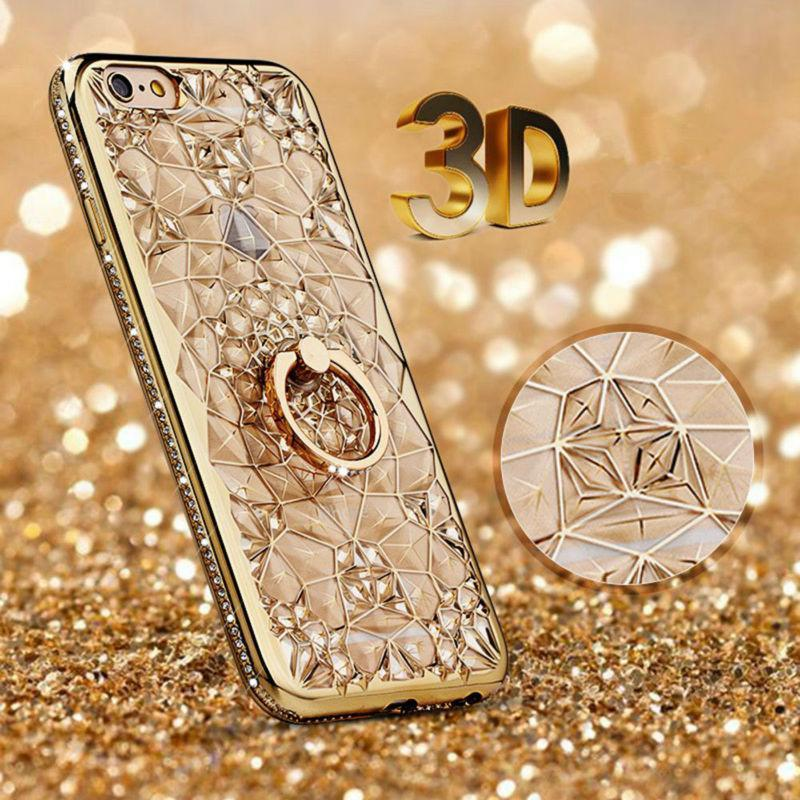 Gold Plating Case 3D Rugged Flower Glitter Diamonds Phone Case For iPhone 8 7 plus TPU soft Ring Cover For iPhone8 6 6S/ Plus 5S