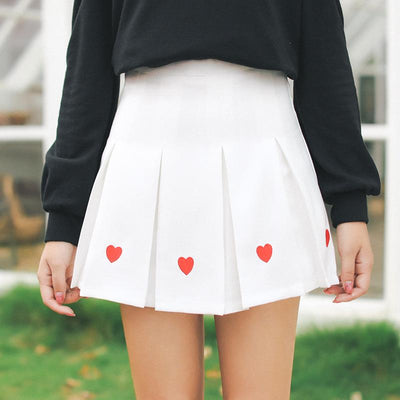 2017 Autumn New Women Miniskirt Japanese Style Intitute Wind Cute Heart-shaped Embroidery Pleated Skirts Female High Waist Jupe