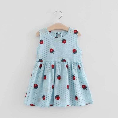 - 2-7y Girls Clothing Summer Girl Dress Children Kids Berry Dress Back V Dress Girls Cotton Kids Vest dress Children Clothes 2017 - bluestrawbery / 2T  jetcube