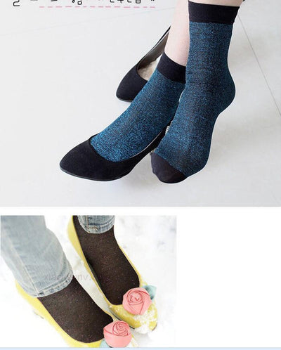 - 10 pair Glitter Women Socks Fashion Silk Female Short Socks Shiny Harajuku Soft Ladies Funny Socks Transparent Elastic Hosiery -   jetcube