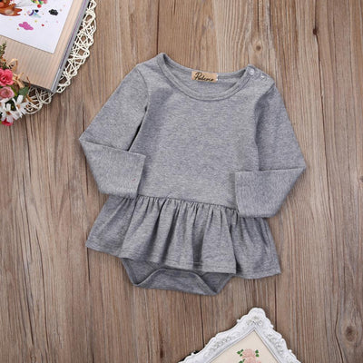 - 2016 Fashion Newborn Infant Kids Baby Girl Clothes Ruffles Tutu Skirt Long Sleeve Gray Bodysuit Jumpsuit Outfit -   jetcube