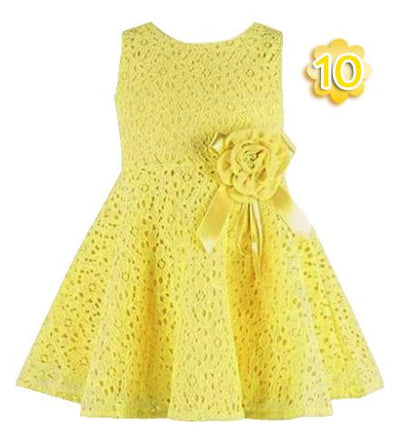 - 0-2 Years New Gift Summer Lace Vest Girls Dress Baby Girl Cotton Dress Chlidren Clothes Kids Party Clothing For Girls - Yellow / 12M  jetcube