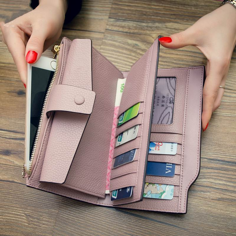 genuine Leather Purse women wallets high quality togo leather Brand 2017 Cell phone Card Holder Long Lady Wallet Clutch
