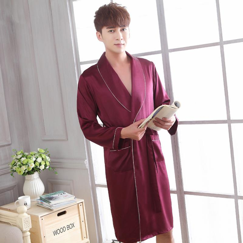 2017 Lounge Sleepwear Soft Nightwear For Men Faux Silk Bathrobes ...