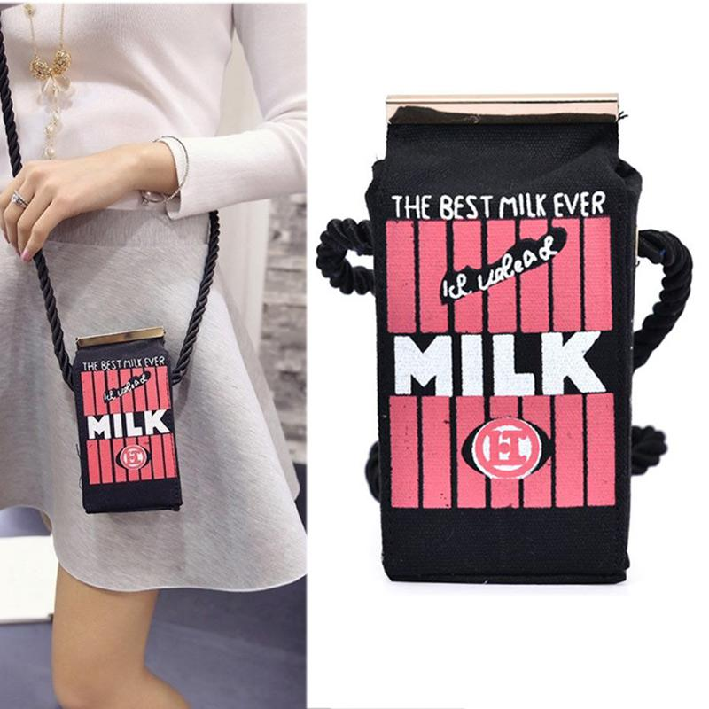 2016 Cute Korean Style Mini Milk Print Handbags Canvas Messenger Bags Cartoon Shoulders Bag 99 LT88  UpCube- upcube