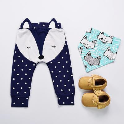 - 0-2Y Newborn Baby Pants Spring Autumn Cartoon Cotton Fox Ear Infant PP Leggings Newborn Girls Boys Pants Baby Clothing -   jetcube