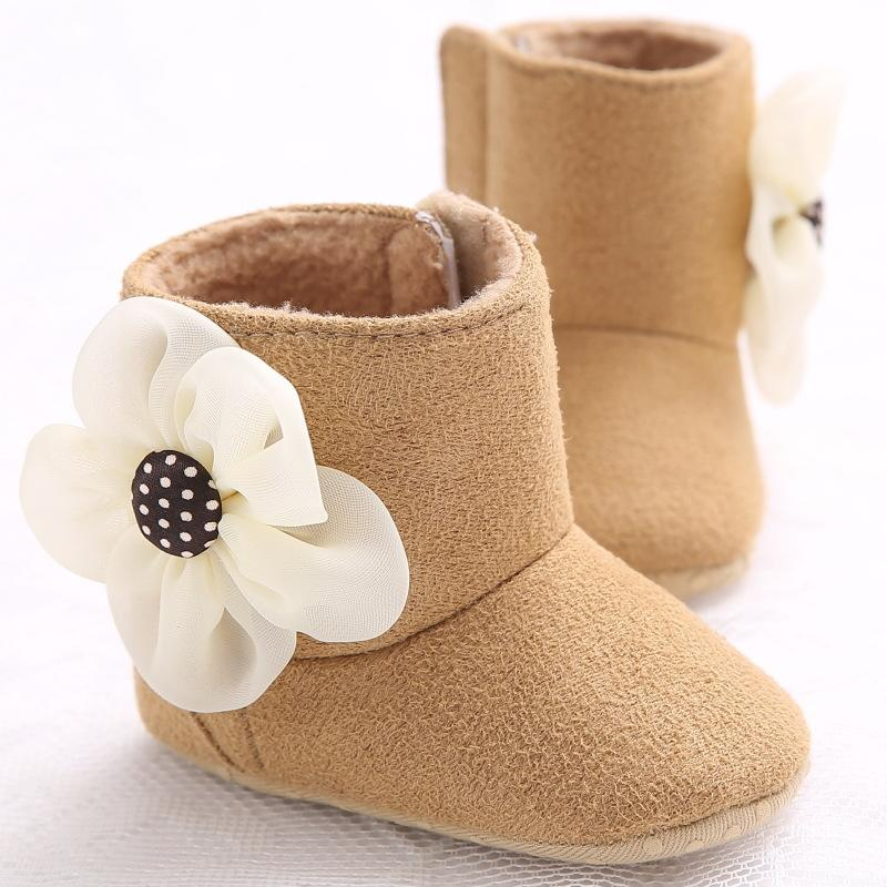 Lovely Winter Warm Baby Shoes Cotton Flower Infant Toddler Baby