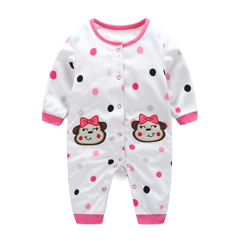 - 0-12M Autumn Fleece Baby Rompers Cute Pink Baby Girl Boy Clothing Infant Baby Girl Clothes Jumpsuits Footed Coverall V20C - MKBCROGL001P50 / 12M  jetcube